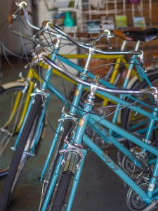"Some step-through frame ""Betty Foy"" bicycles on the side."