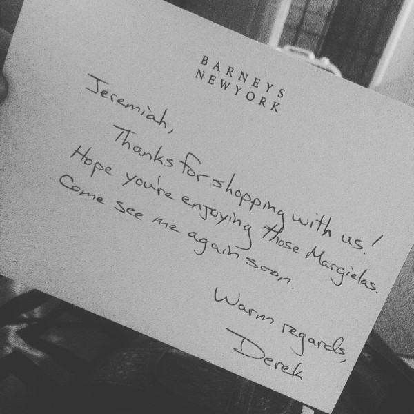 This is a postcard i recieved in the mail from Barneys New York Employee that helped me choose the Margiela's. I felt important when i got this post card.