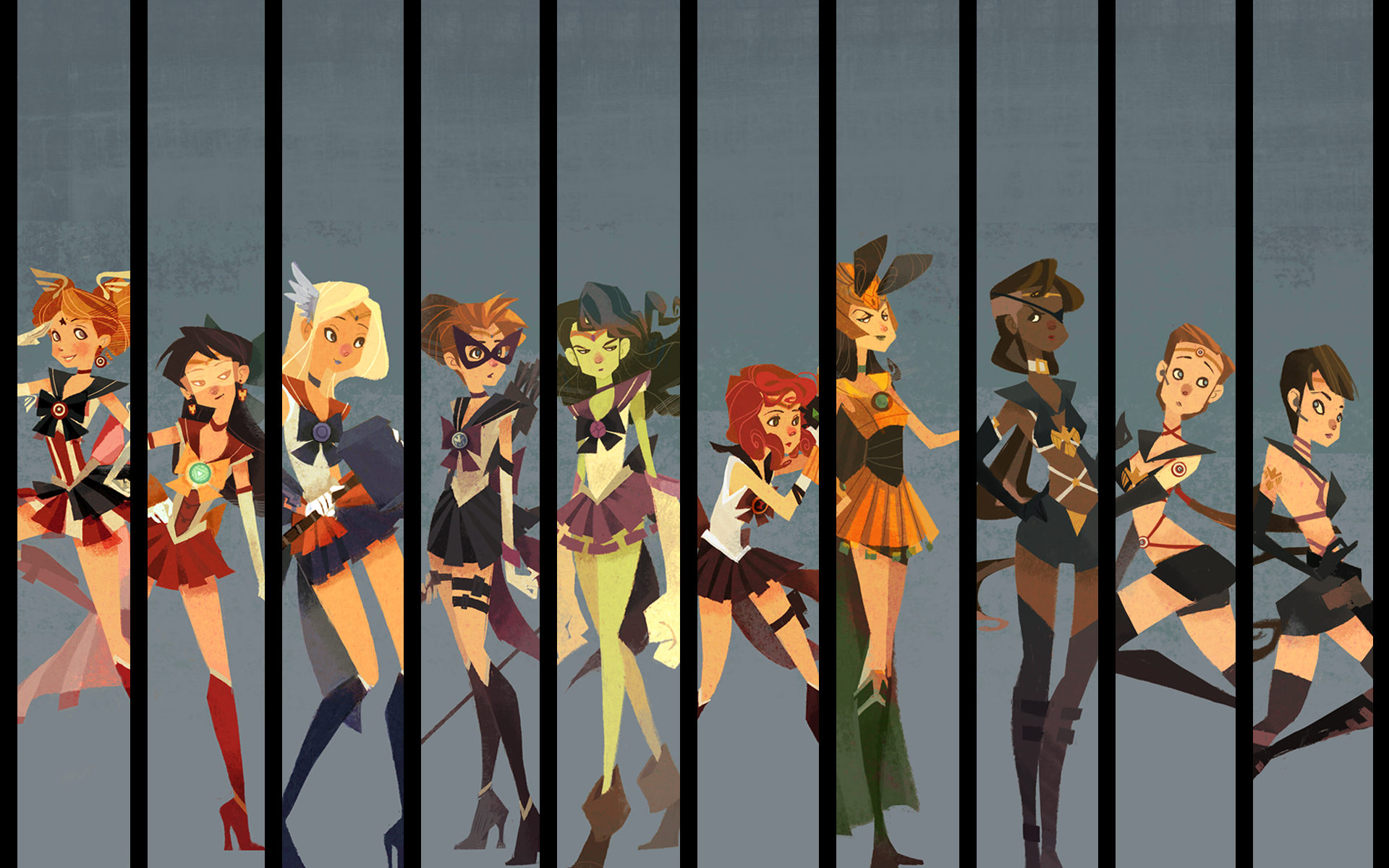 The original artwork that the Avengers-themed Sailor Scouts based their costumes on.