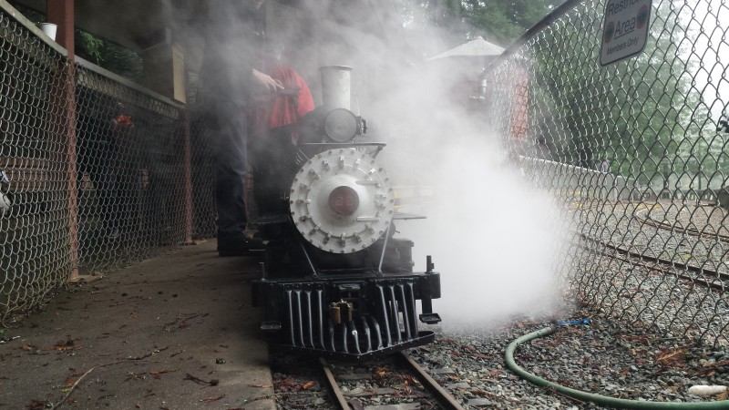 This steam locomotive is a full on steam locomotive that works exactly like the real thing, except for the fact that it uses propane as a heat source instead of  coal.