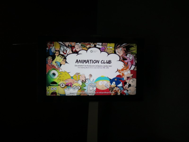 This is a TV screen announcement of an upcoming meeting for Animation Club