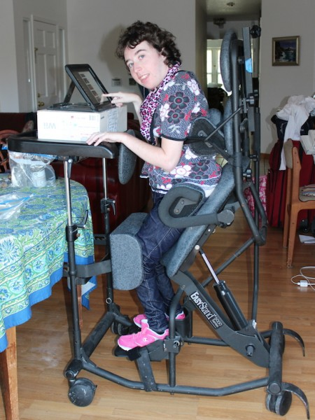 Jenny using her stander