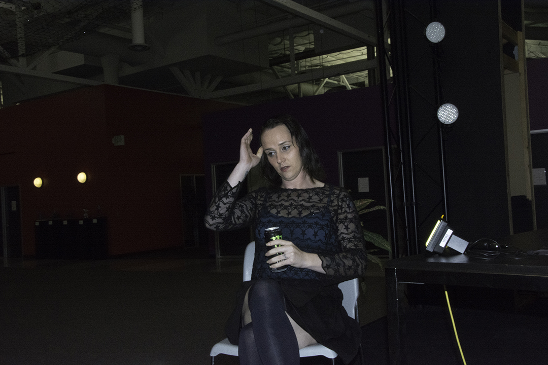 Another view of Aria preparing for the interview