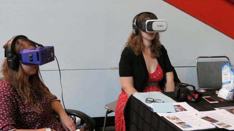 One of my personal favorite pictures, this is of two women going through with a mental, relaxing therapy. This VR application was developed to combat the effects of depression.