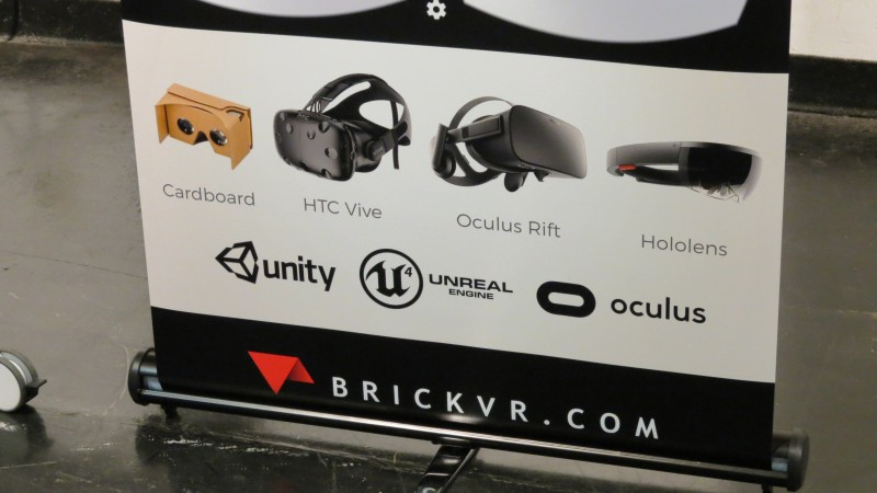BrickVR's Display Banner. This picture was taken at the VR Fest in San Francisco, at the Palace of Fine Arts. This banner was held in front of their booth, where they were advertising just what pieces of technology BrickVR is handling when they develop their products; amazingly, they're focusing on all available VR platforms